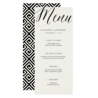 Classic Simple Script Geometric Wedding Menu Card