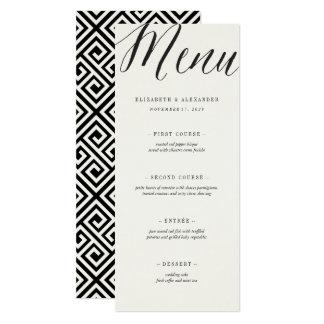 Classic Simple Script Geometric Wedding Menu Card