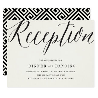 Classic Simple Script Modern Wedding Reception Card