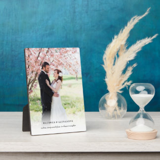 Classic Simple White Gradient Wedding Photo Easel Plaque