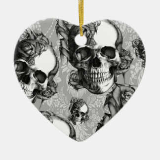 Classic Skull and Roses Pattern. Black and white. Ceramic Ornament
