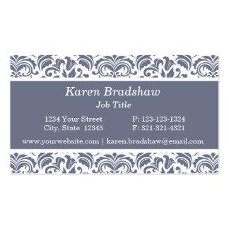 Classic Slate Gray Floral Damask Business Cards