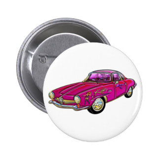 Classic Small Pink Sports Car Pinback Button