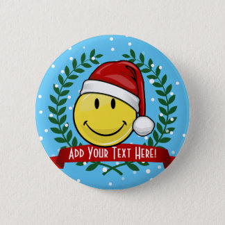 Classic Smiley Face Holiday Style Pinback Button