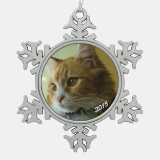 Classic Snowflake Dated Photo Pewter Tree Ornament at Zazzle