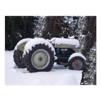 Classic Snowy 1940's Tractor on a postcard