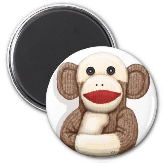 Classic Sock Monkey 2 Inch Round Magnet