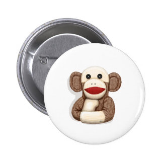 Classic Sock Monkey 2 Inch Round Button