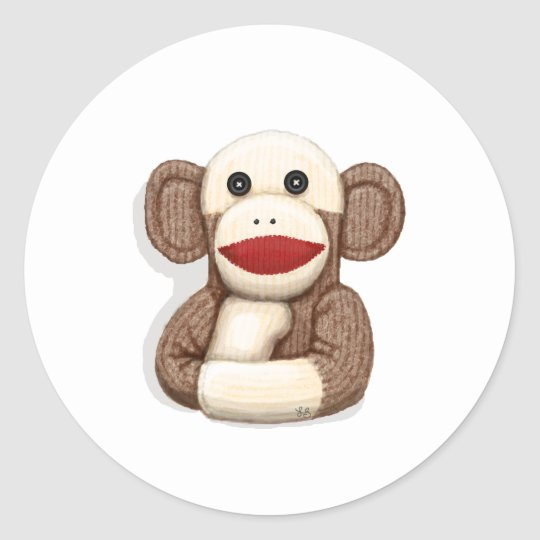 Classic Sock Monkey Classic Round Sticker