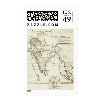 Classic South Asian Map Postage Stamps