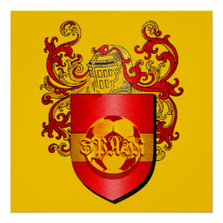 Classic Spanish Soccer Futbol coat of arms Poster