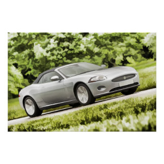 Classic Sports Car - Pastel Art Style Digital Art Print