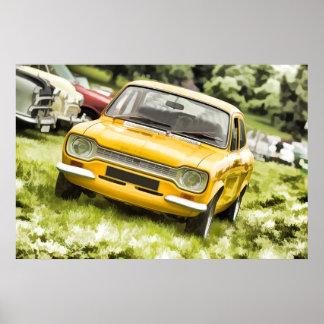 Classic Sports Car - Pastel Art Style Digital Art Poster