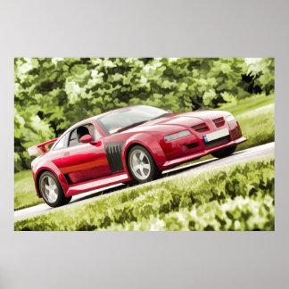 Classic Sports Car - Pastel Art Style Digital Art Posters