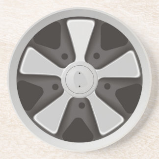 Classic sports car racing wheel used on 911 drink coaster