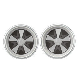 Classic sports car racing wheel used on 911 cufflinks