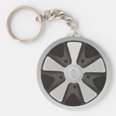 Classic Sports Car Racing Wheel Used On 911 Keychain at Zazzle