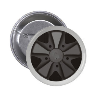 Classic sports car racing wheel used on 911 pinback button