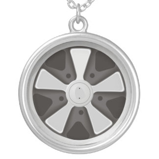 Classic sports car racing wheel used on 911 round pendant necklace