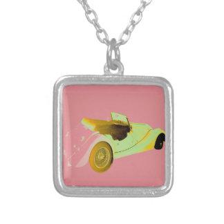 Classic Sports Car Square Pendant Necklace