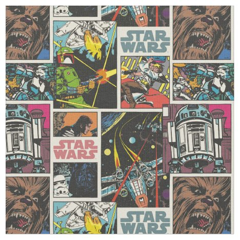 Classic Star Wars Comic Pattern Fabric
