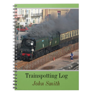 Classic steam train trainspotting log personalised spiral notebook