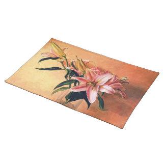 Classic still life flowers orange placemat