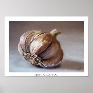 Classic still life garlic poster
