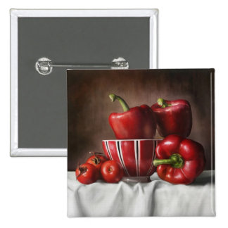 Classic Still Life Pepper Tomatoe painting Buttons