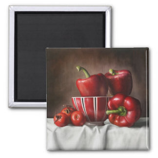Classic Still Life Pepper Tomatoe painting Fridge Magnet