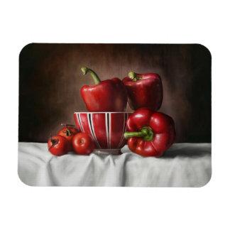 Classic Still Life Pepper Tomatoe painting Rectangular Magnet