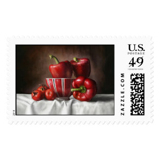 Classic Still Life Pepper Tomatoe painting Stamp
