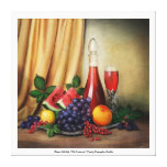 Classic still life with fruits and wine canvas stretched canvas print