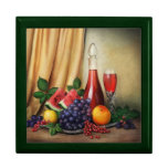 Classic still life with fruits and wine giftbox trinket boxes