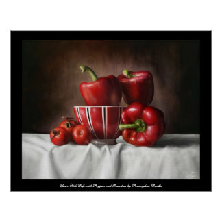 Classic still life with peppers amd tomatoes print