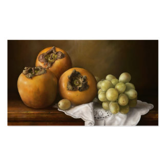 Classic still life with persimmons and grape art business cards
