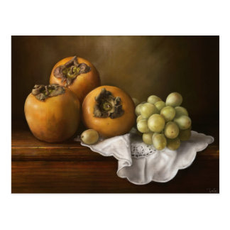 Classic still life with persimmons and grape art postcard