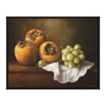 Classic still life with persimmons and grape canva stretched canvas prints