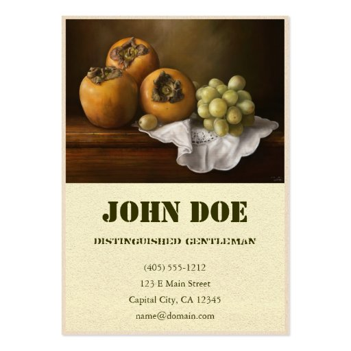 Classic Still Life with Persimmons and Grape paint Business Cards