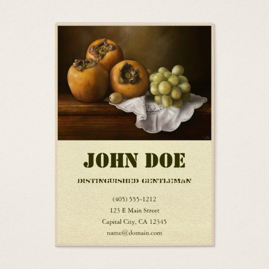 Classic Still Life with Persimmons and Grape paint Business Card
