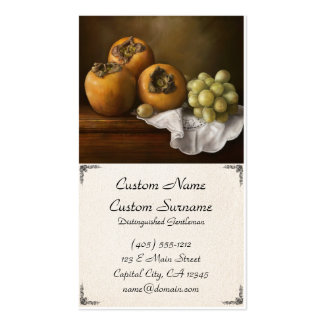 Classic Still Life with Persimmons and Grape paint Business Card Template