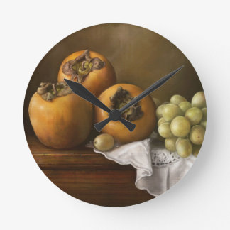 Classic Still Life with Persimmons and Grape paint Wallclock