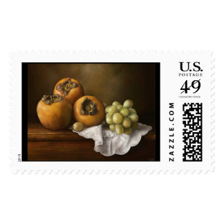 Classic Still Life with Persimmons and Grape paint Postage Stamps