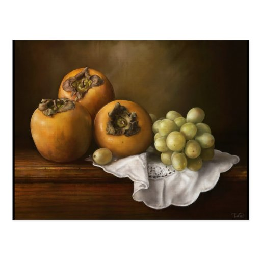 Classic Still Life with Persimmons and Grape paint Postcard