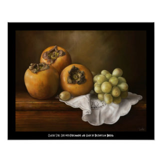Classic Still life with Persimmons and Grape paint Print