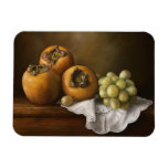 Classic Still Life with Persimmons and Grape paint Rectangular Magnet