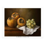 Classic still life with persimmons and grape postc postcard