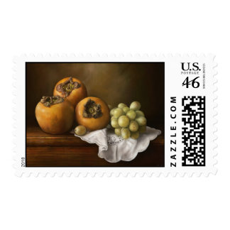 Classic still life with persimmons and grape stamp