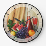 Classic still life with wine and fruits clock