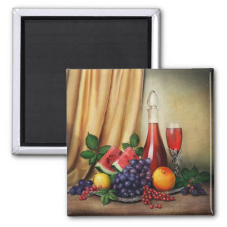 Classic still life with wine and fruits painting 2 inch square magnet